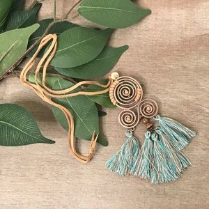 Jewelry - NEW! Boho Tassel Pendant Necklace Teal & Brown